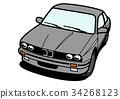 ジャーマンクーペ グレー 自動車イラスト 34268123