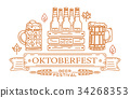 Line icons and lettering for Oktoberfest 34268353