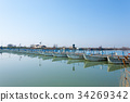 Bridge of boats perspective view 34269342