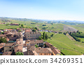 Barbaresco town aerial view, Langhe, Italy 34269351