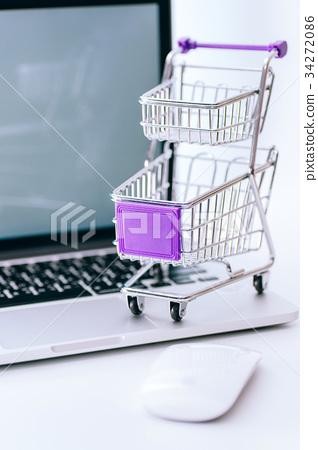 購物車,電腦,線上購物,Shopping cart,computer,Online shopping 34272086