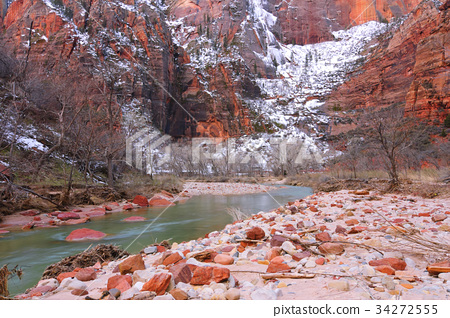 Zion National Park and The Virgin River in winter 34272555