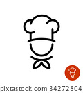 Chef in a cooking hat outline logo 34272804