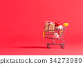 Holiday shopping theme with shopping cart 34273989