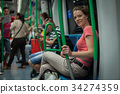 Woman travels overground metro in the afternoon 34274359