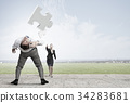 Man evading flying puzzle 34283681