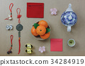 Flat lay of top decorations Chinese New Year. 34284919
