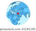 Iraq on blue globe isolated 34285285