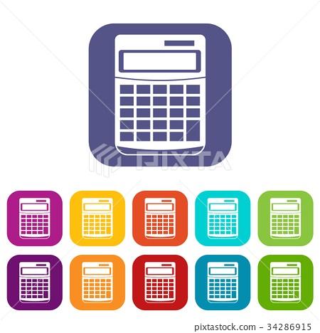 Calculator icons set 34286915
