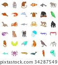 Animal in nature icons set, cartoon style 34287549