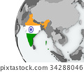 India on globe with flag 34288046