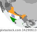 Flag of India on political globe 34290613