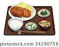 set meal, daily special, pork cutlet 34290758