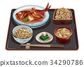 set meal, daily special, boiled fish set meal 34290786