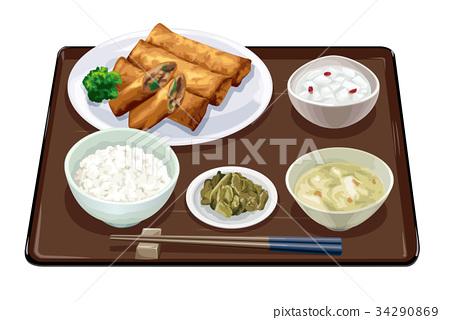 Spring roll set meal 2 34290869