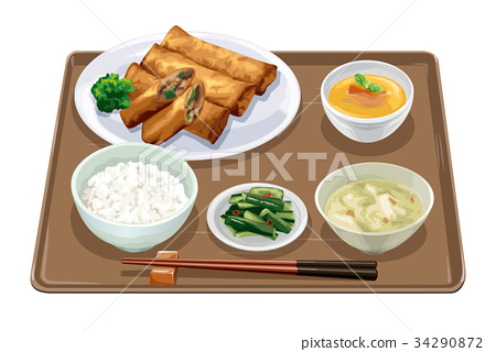 set meal, daily special, spring roll 34290872