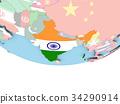 Map of India with flag on globe 34290914
