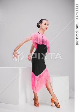 girl in pink and black dress posing in white 34291131