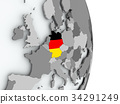 Map of Germany with flag 34291249