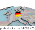 Political map of Germany on globe with flag 34291575