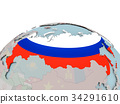 Political map of Russia on globe with flag 34291610