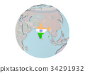 India with flag on globe 34291932