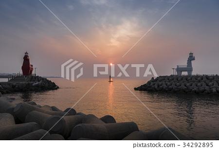 燈塔,Ihotei海灘,濟州市,濟州島 34292895