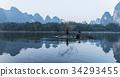 中國廣西壯族自治區桂林漓江鸕鶿 34293455
