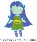 ฮาโลวีน,เด็กผู้หญิง,ซอมบี้ 34293866
