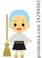 younger, bald, buddhist priest 34294042