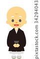bald, buddhist priest, monk 34294043
