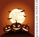 Halloween Party Background with Pumpkins 34295116