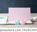 Pink and green pastel hearts purple card 34295344