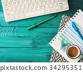 Workplace background on dark green 34295351