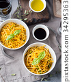 Lunch with pasta noodles and vegetables 34295363