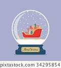 Merry christmas glass ball with Santa sleigh  34295854