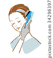 女性头发染料头发染色着色头发 34296397