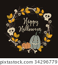 Hand drawn vintage Halloween party greeting card 34296779