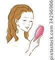 女人刷牙美容 34296966