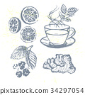 Ink hand drawn Tea elements collection 34297054