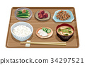 set meal, daily special, japanese food 34297521