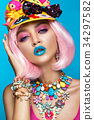Funny comic girl with bright make-up in the style 34297582