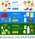 Cartoon Color Healthy Food Banner Horizontal Set 34299296