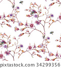 watercolor painting of Bee and flower, pattern  34299356