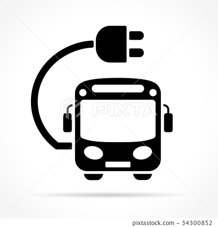 electric bus icon on white background 34300852