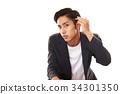 頭髮定型的男士 34301350