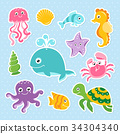 Ocean set with cute sea animals 34304340