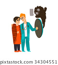 vector flat doctor protecting patient by shield 34304551