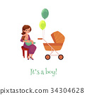 vector flat girl sitting at chair with infant baby 34304628