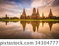 Ayutthaya, Thailand at Wat Chaiwatthanaram 34304777